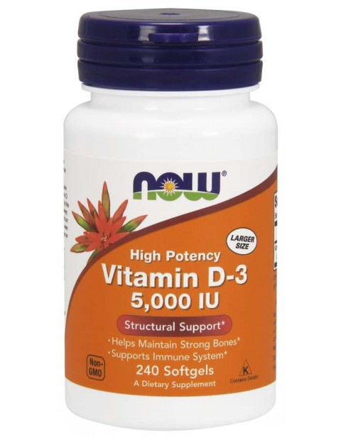 ВИТАМИН Д3 NOW VITAMIN D-3 5000 IU 240 КАПСУЛ